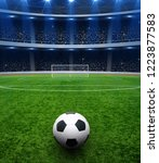 soccer ball on green stadium ... | Shutterstock . vector #1223877583