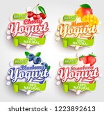 mango  cherry  strawberry and... | Shutterstock .eps vector #1223892613