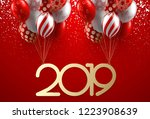 red christmas and new year 2019 ... | Shutterstock .eps vector #1223908639