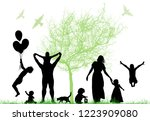 family silhouettes and tree.... | Shutterstock .eps vector #1223909080