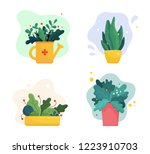 Set Of Abstract Lush Plants In...