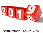 cubes with red new year 2019... | Shutterstock . vector #1223919649
