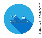 aircraft carrier line icon with ...
