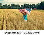 Girl Running With Wheat Field...