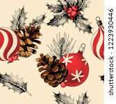seamless pattern with pine... | Shutterstock .eps vector #1223930446