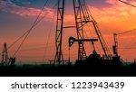 beautiful sunset landscape of... | Shutterstock . vector #1223943439