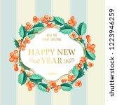 christmas mistletoe wreath over ... | Shutterstock .eps vector #1223946259