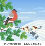 cute red bullfinch bird sitting ...   Shutterstock .eps vector #1223955169