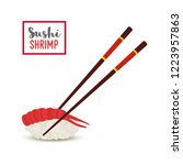 sushi with shrimp with rice.... | Shutterstock . vector #1223957863