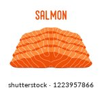 salmon sliced pieces of seafood.... | Shutterstock . vector #1223957866