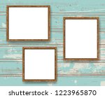 realistic minimal blank wood... | Shutterstock .eps vector #1223965870