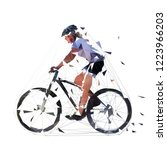 mountain biking  low polygonal... | Shutterstock .eps vector #1223966203