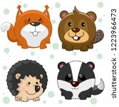 set of beautiful round animal... | Shutterstock .eps vector #1223966473