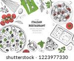 italian cuisine top view frame. ... | Shutterstock .eps vector #1223977330