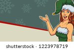 retro female elf with christmas ... | Shutterstock .eps vector #1223978719