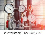 house heating system with many... | Shutterstock . vector #1223981206