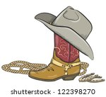 cowboy boot with western hat... | Shutterstock .eps vector #122398270