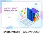 isometric web banner e learning ... | Shutterstock .eps vector #1223990050