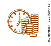 time is money. clock and coin... | Shutterstock .eps vector #1224004453