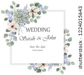 wedding invitation leaves and... | Shutterstock .eps vector #1224015643