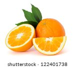 oranges over white background