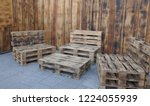 rustic  self made benches and a ... | Shutterstock . vector #1224055939