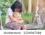 sad child with family problem... | Shutterstock . vector #1224067186