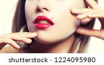 beauty part of face of model... | Shutterstock . vector #1224095980