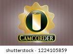 golden emblem with soda can... | Shutterstock .eps vector #1224105859