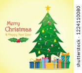 christmas tree illustration.... | Shutterstock .eps vector #1224110080
