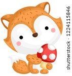 a vector of a cute fox with... | Shutterstock .eps vector #1224115846