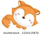 a vector of a cute fox with... | Shutterstock .eps vector #1224115870