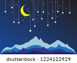 night sky paper with mountain ... | Shutterstock .eps vector #1224122929
