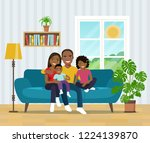 smiling african american family ... | Shutterstock .eps vector #1224139870