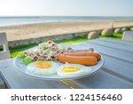 english breakfast. two fried... | Shutterstock . vector #1224156460