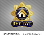 gold badge with home icon and... | Shutterstock .eps vector #1224162673