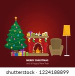 christmas fireplace with gifts  ... | Shutterstock .eps vector #1224188899