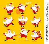 collection of christmas santa... | Shutterstock .eps vector #1224195673