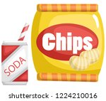 a vector of a chips and a soda | Shutterstock .eps vector #1224210016