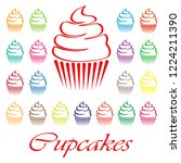 set of cute vector cupcakes and ...   Shutterstock .eps vector #1224211390