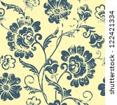 vector vintage floral seamless... | Shutterstock .eps vector #122421334