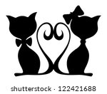 Vector Illustration Of Two Cat...