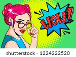 portrait girl in glasses.... | Shutterstock . vector #1224222520