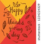 thanksgiving day card in hand... | Shutterstock .eps vector #1224224329