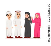 group of arabian boy and girl... | Shutterstock .eps vector #1224226330