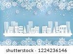 winter scenery in the city.... | Shutterstock .eps vector #1224236146