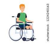 man in wheelchair character | Shutterstock .eps vector #1224240163