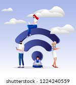 people in free internet zone... | Shutterstock .eps vector #1224240559
