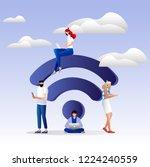 people in free internet zone... | Shutterstock .eps vector #1224240559