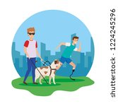 blind man with guide dog and... | Shutterstock .eps vector #1224245296